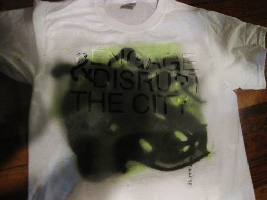 laying the stencil on the shirt