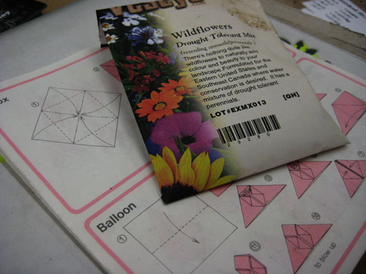 wildflower seeds and origami instructions