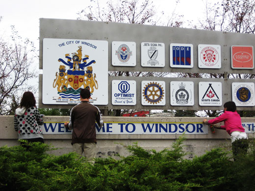 Measuring the Welcome to Windsor Sign just off the 401 at Dougall