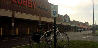 No bike parking at the Dutchmans Lane Shopping Center. (Erik Weber)