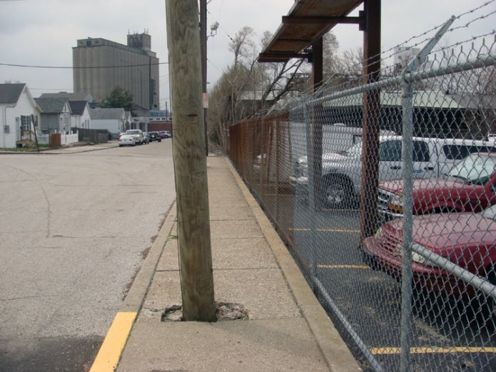 A (blocked) sidewalk in Louisville. (Branden Klayko)