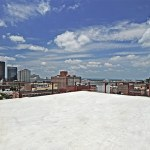 View northwest from the new building's rooftop. (Courtesy U of L)