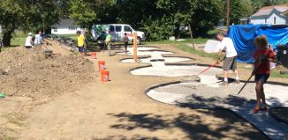 The Peace Labyrinth under construction. (Courtesy Ramona Lindsey)