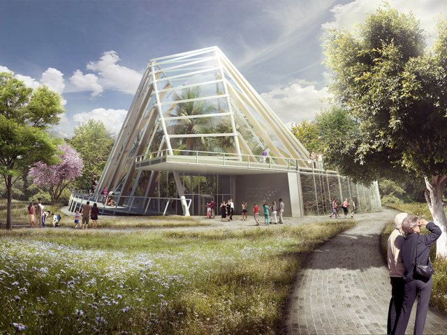 The Waterfront Botanical Gardens Conservatory hopes to achieve LEED Platinum certification. (Courtesy Perkins + Will)
