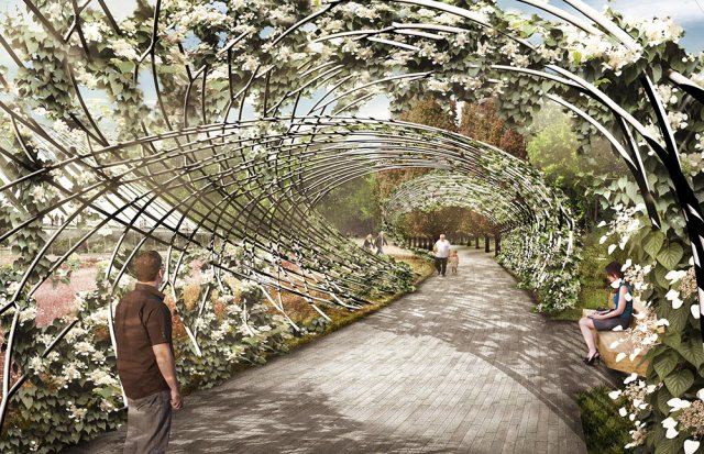 A planted trellis is proposed along the central spine of the Waterfront Botanical Gardens. (Courtesy Perkins + Will)