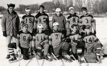 A hockey team in Edina, Minnesota from the 1950s showing how white the community was. (Edina, Minnesota Historical Society / Courtesy Chad Montrie)