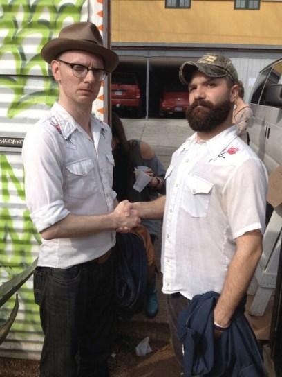 JD and Bug share a surly same shirt shake
