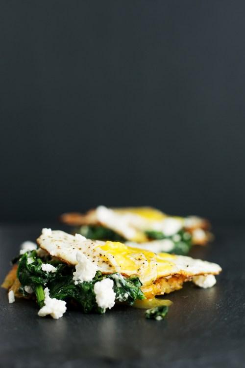 Feta Eggs Florentine on Hashbrown | bsinthekitchen.com #breakfast #brunch #bsinthekitchen