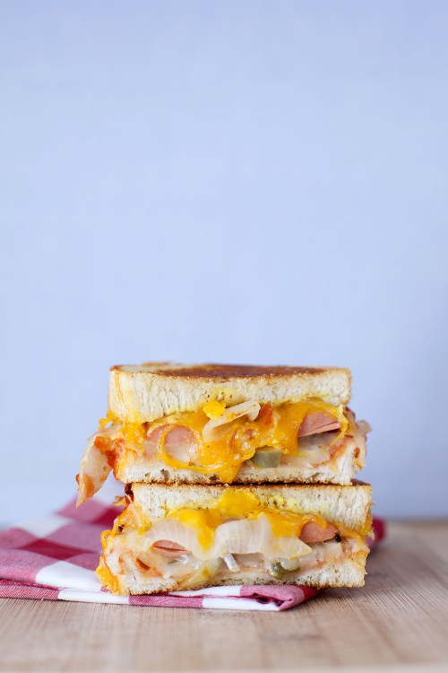 The Ball Park Frank Grilled Cheese | bsinthekitchen.com #grilledcheese #hotdog #bsinthekitchen
