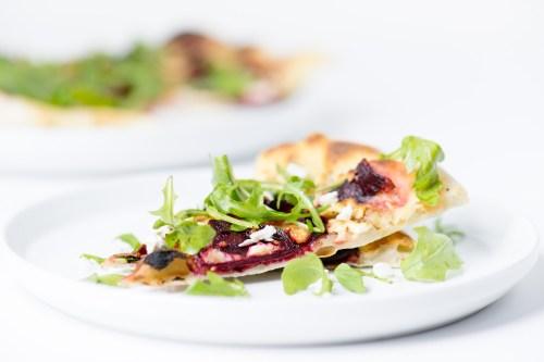 Beet, Arugula, & Feta Pizza | bsinthekitchen.com #pizza #beets #bsinthekitchen