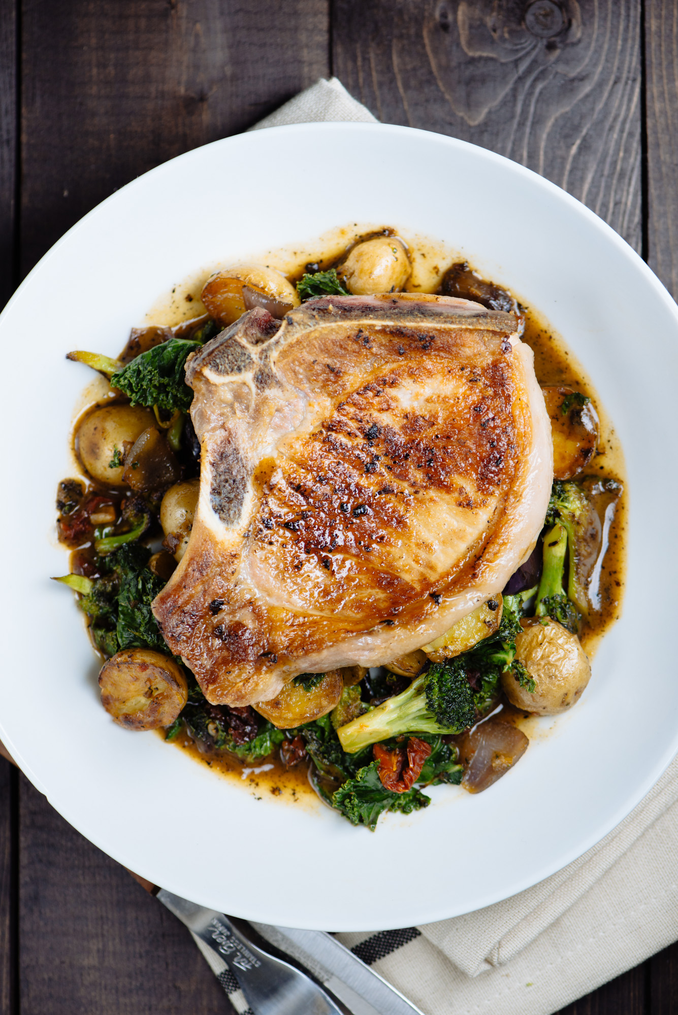Pan Roasted Pork Chop on Potato, Kale, & Broccoli with Pan Gravy | BS ...