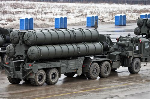 "Russian S-400 surface to air missile, known as the ""Triumf"""
