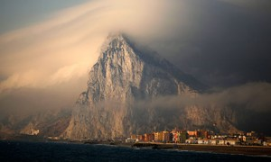 Cloud hangs over the rock of Gibraltar.