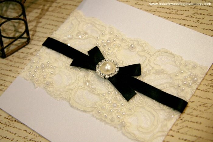 Vintage Glamour Invitation Customised White Card U0026 Black Ribbon