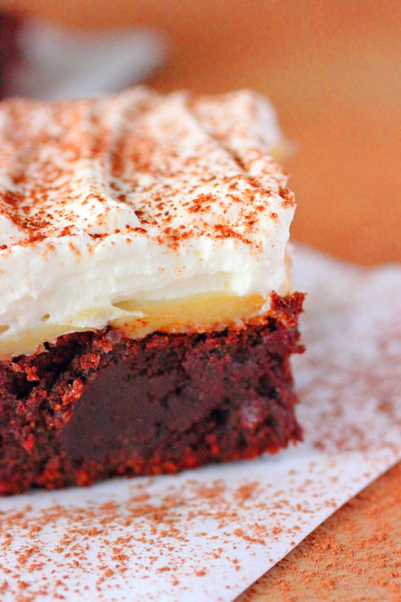 Toffee Brownies with Marscarpone Whipped Cream