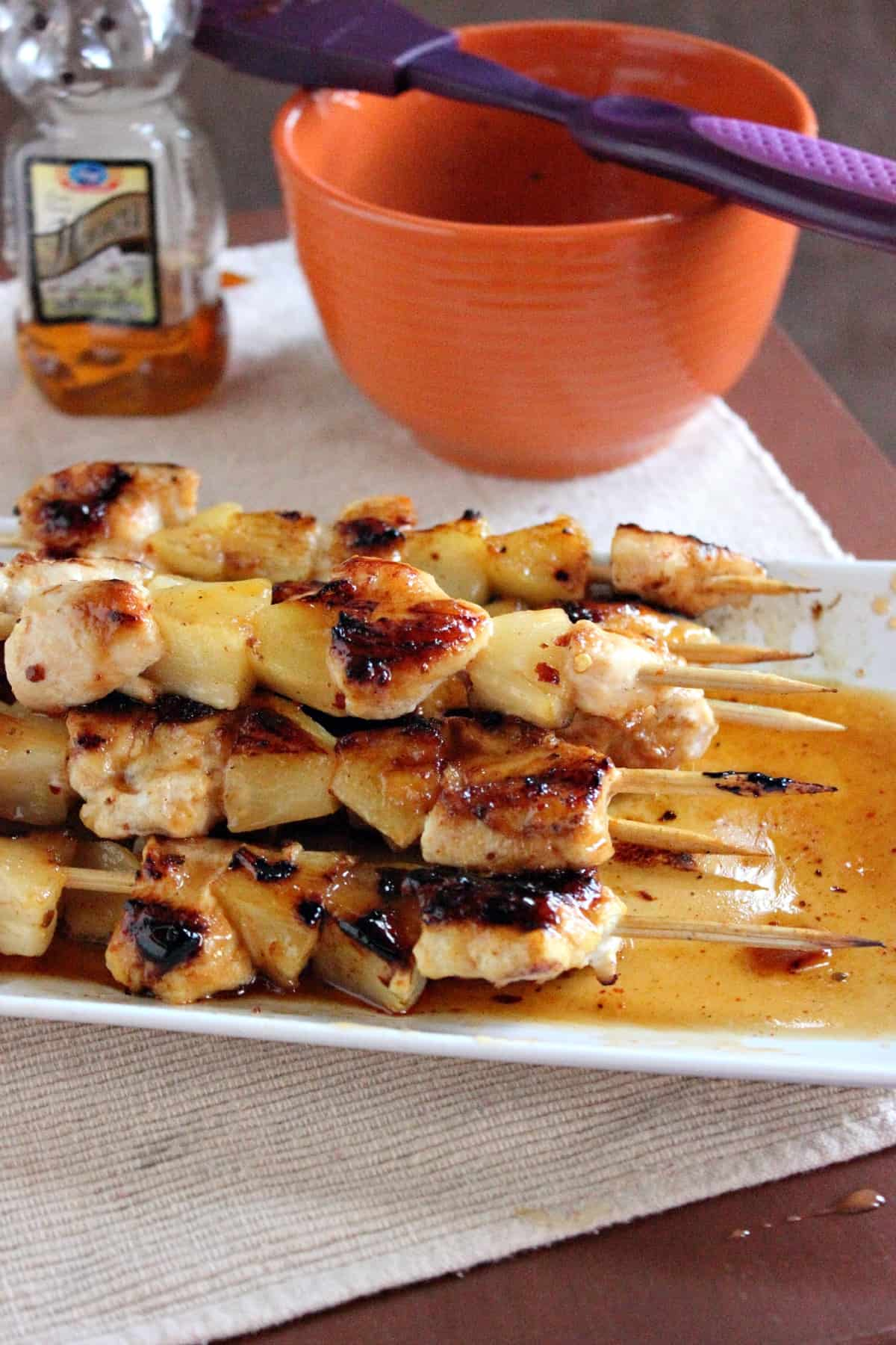 Chicken & Pineapple Skewers with Honey Chipotle Glaze