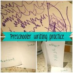 Preschooler writing inspiration and outputs