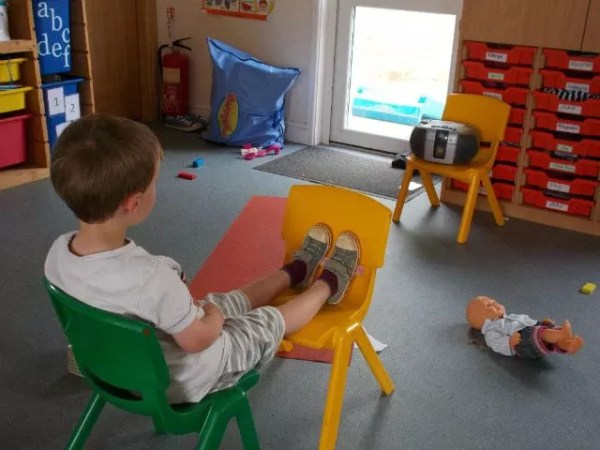 chilling out listening to music at nursery