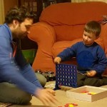 A bit of Connect Four with his uncle