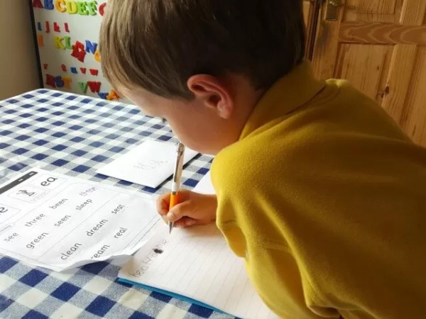 Practising his writing and making up words - Bubbablue and me
