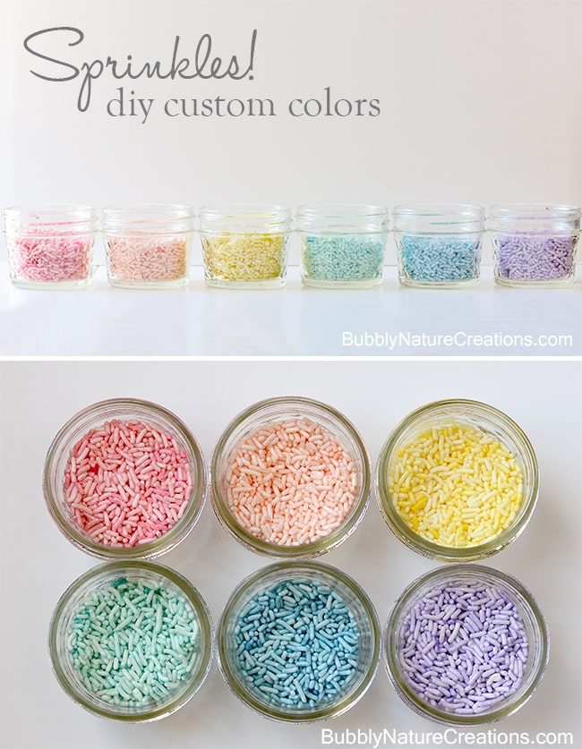 Use Food Coloring to Dye your own Sprinkles!  This is such an easy DIY and you can use the food colors you have on hand!
