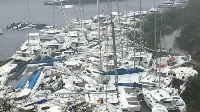 Así quedó el puerto en las islas Vírgenes Británicas, tras el paso del huracán Irma