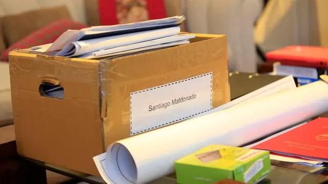 Cajas con elementos de la causa Santiago Maldonado en la oficina de Patricia Bullrich