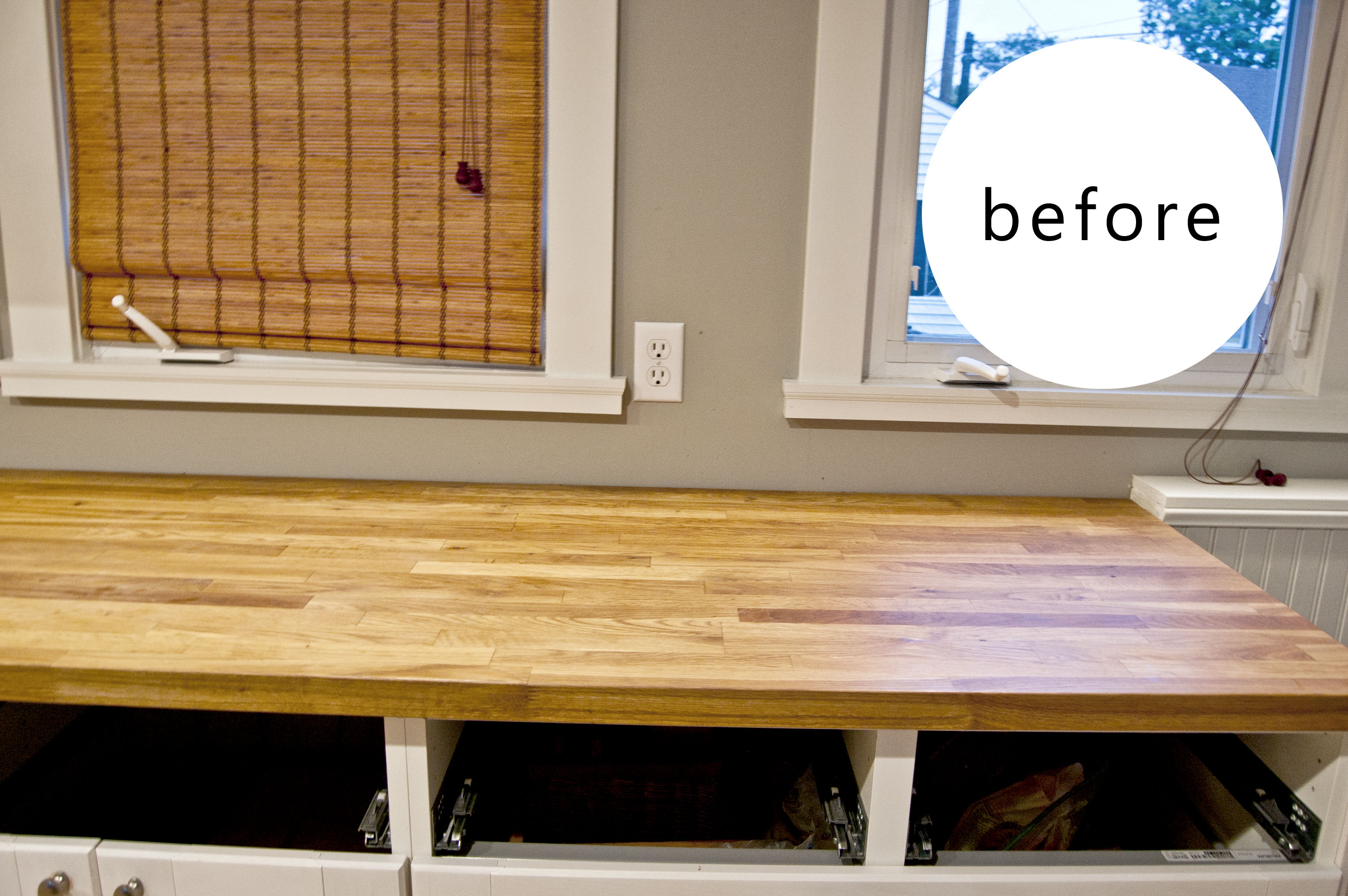 diy distressed wood counter wood countertops kitchen First