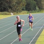 Jane Simons leading Debbie home in the 800m