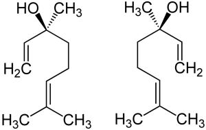 Linalool's two stereoisomers, (S)-(+)-linalool (left) and (R)-(–)-linalool (right).