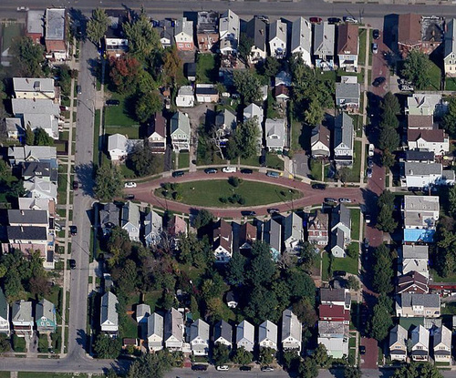 Ariel view of Viola Park at the center with Daisy and Pansy Streets on either side