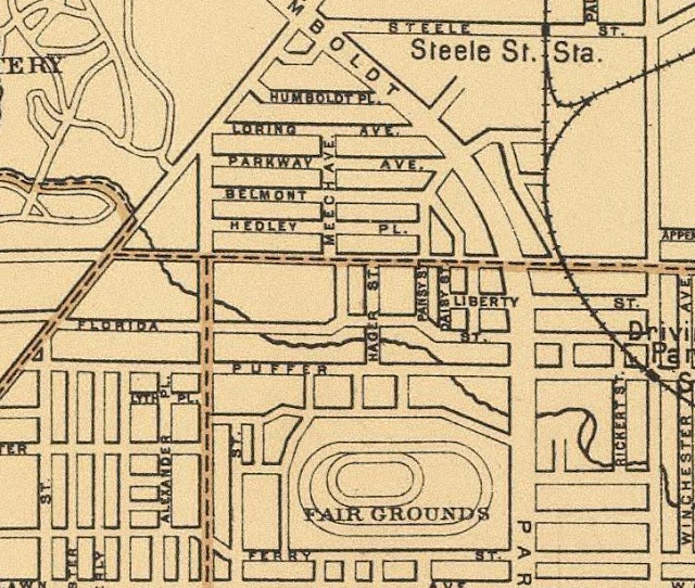 1895 Map illustrating original street names, the belt line, and the Steele Street (Kensington Avenue) station
