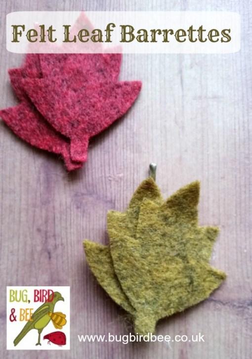 felt leaf barrettes