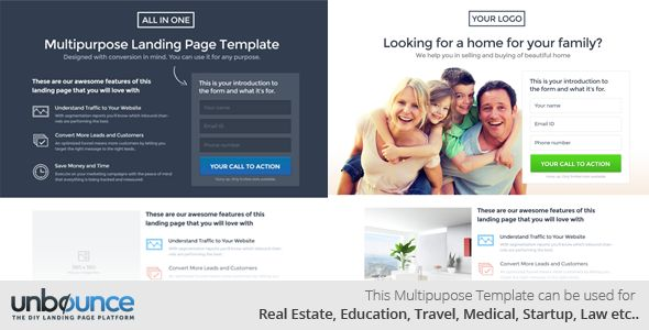 All In One Multi-Purpose Landing Page Template by Surjithctly (landing page template for Unbounce.com)