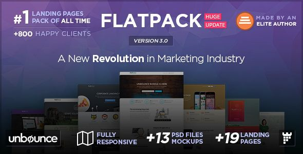 FLATPACK by PixFort (landing page template for Unbounce.com)