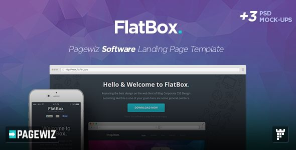 FlatBox by PixFort (landing page template for PageWiz)