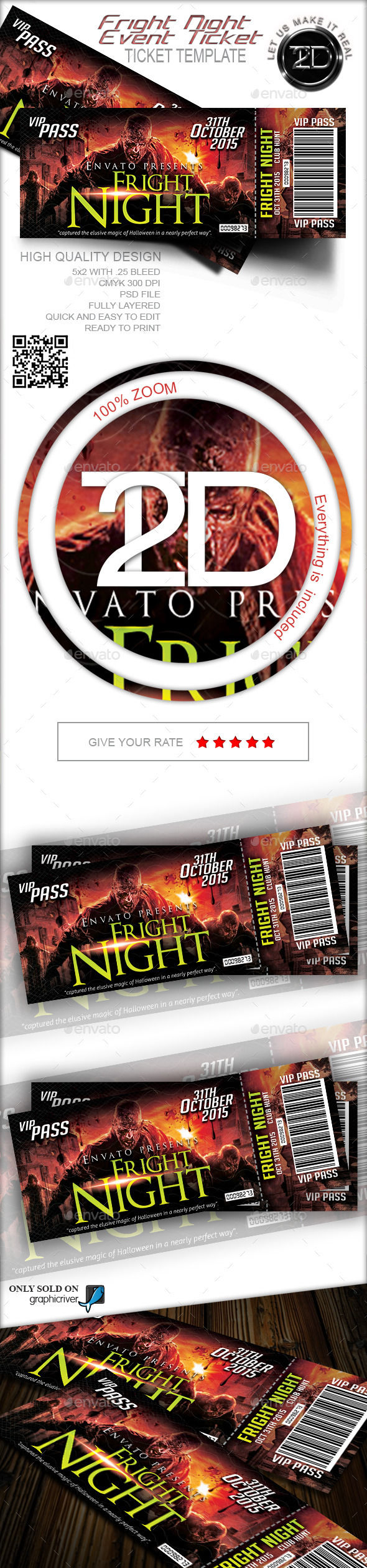 Fright Night Print Ready Event Ticket by Take2Design (Halloween party flyer)