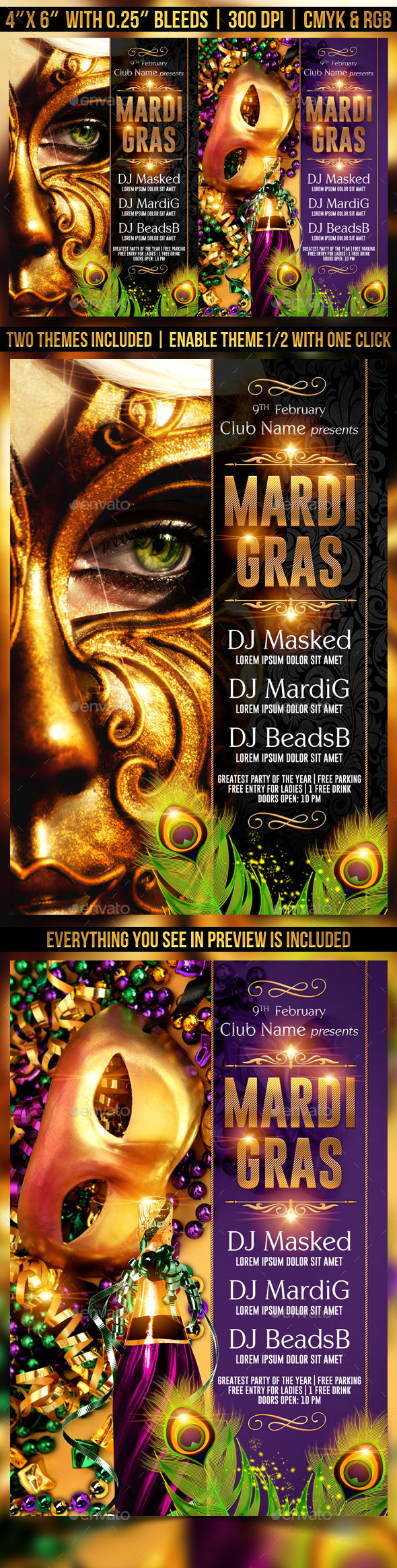 Mardi Gras Or Masquerade Flyer Template by Gugulanul (Halloween party flyer)