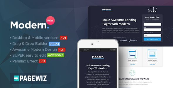Modern by PixFort (landing page template for PageWiz)