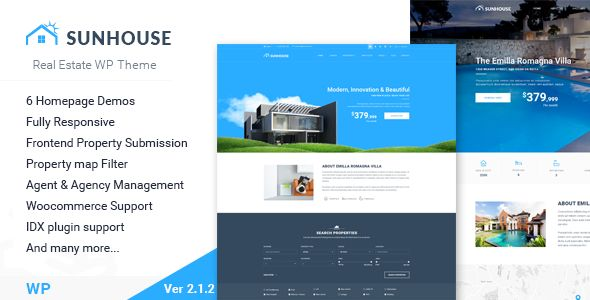 SunHouse by Swlabs (real estate and realtor WordPress theme)