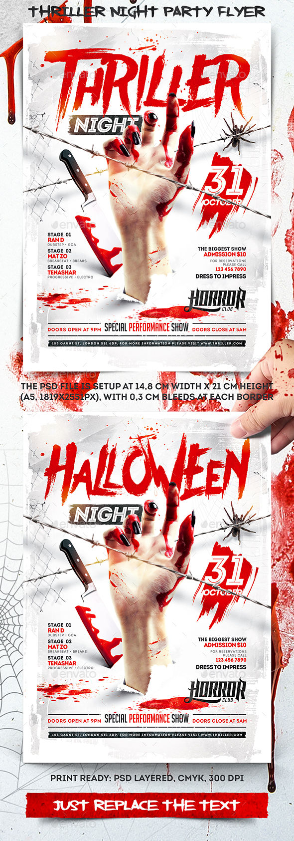 Thriller Night Party Flyer by 4ustudio (Halloween party flyer)