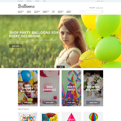Balloons Joy Magento Theme (Magento theme for kids, babies, and children) Item Picture