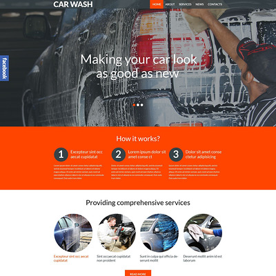 Car Wash Responsive WordPress Theme (WordPress theme for car, vehicle, and automotive websites) Item Picture