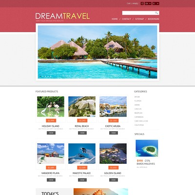 Dream Travel Store PrestaShop Theme (PrestaShop theme for travel websites) Item Picture