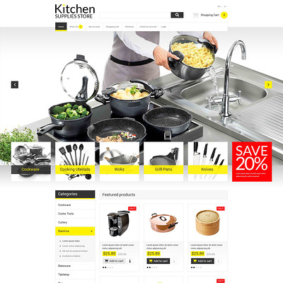 Online Kitchen Warehouse OpenCart Template (OpenCart theme for kitchen supplies) Item Picture