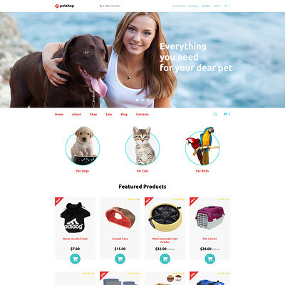 PetShop OpenCart Template (OpenCart themes for pets and animals) Item Picture