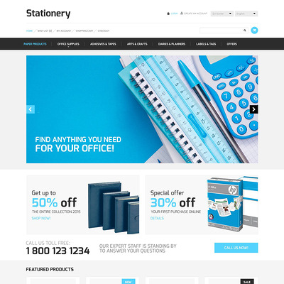Stationery Store OpenCart Template (OpenCart theme for stationery, business cards, and office supplies) Item Picture