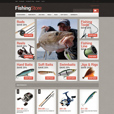 Useful Fishing Accessories Magento Theme (Magento theme for fishing equipment) Item Picture
