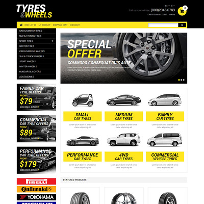 Wheels & Tires Responsive OpenCart Template (OpenCart theme for automotive, car, and vehicle stores) Item Picture