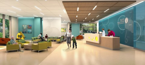 The new ER space will represent the puddle in The Big Backyard Theme, using aqua as the primary color.